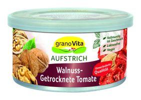 GranoVita Vegane Pastete Walnuss-Getrocknete Tomate, 125g